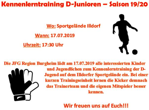 Photo of JFG Kennenlerntraining U13 D-Jugend Jahrgang 2008 für die Saison 19/20